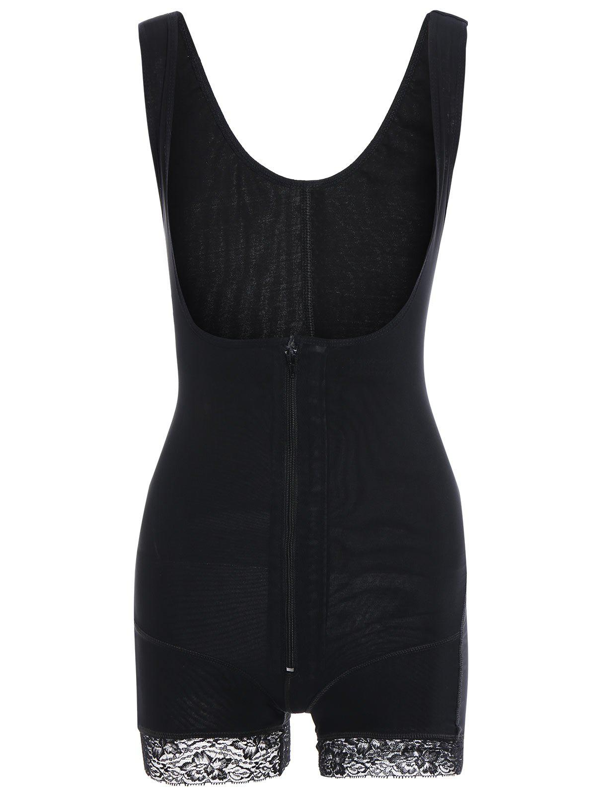 Steel Boned Zipper Fly Body ShaperWOMEN<br><br>Size: 2XL; Color: BLACK; Material: Polyester; Pattern Type: Solid; Embellishment: Lace,Zippers; Weight: 0.2000kg; Package Contents: 1 x Body Shaper;