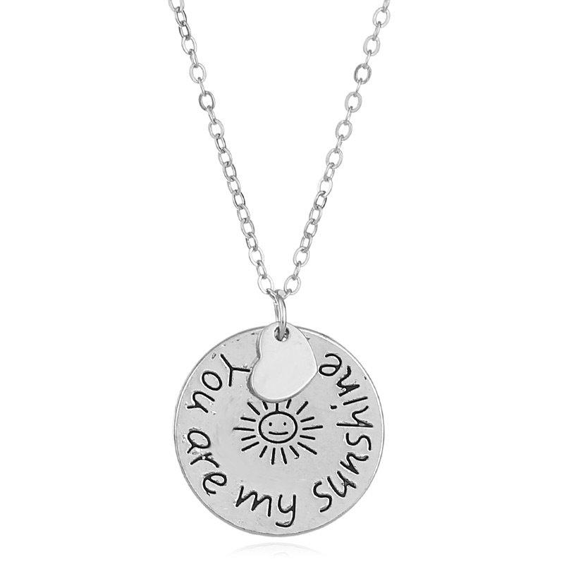 Engraved You Are My Sunshine Heart NecklaceJEWELRY<br><br>Color: SILVER; Item Type: Pendant Necklace; Gender: For Women; Necklace Type: Link Chain; Style: Trendy; Shape/Pattern: Heart,Round; Length: 52CM; Weight: 0.0300kg; Package Contents: 1 x Necklace;