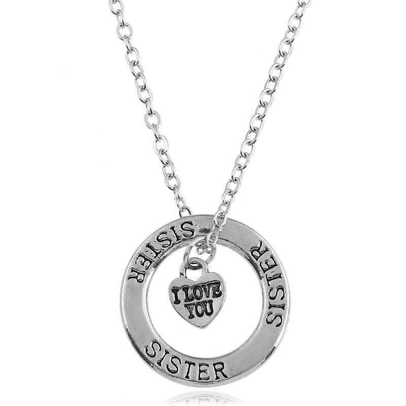 Heart Engraved Sister I Love You NecklaceJEWELRY<br><br>Color: SILVER; Item Type: Pendant Necklace; Gender: For Women; Style: Trendy; Shape/Pattern: Heart,Letter,Round; Length: 52CM; Weight: 0.0300kg; Package Contents: 1 x Necklace;
