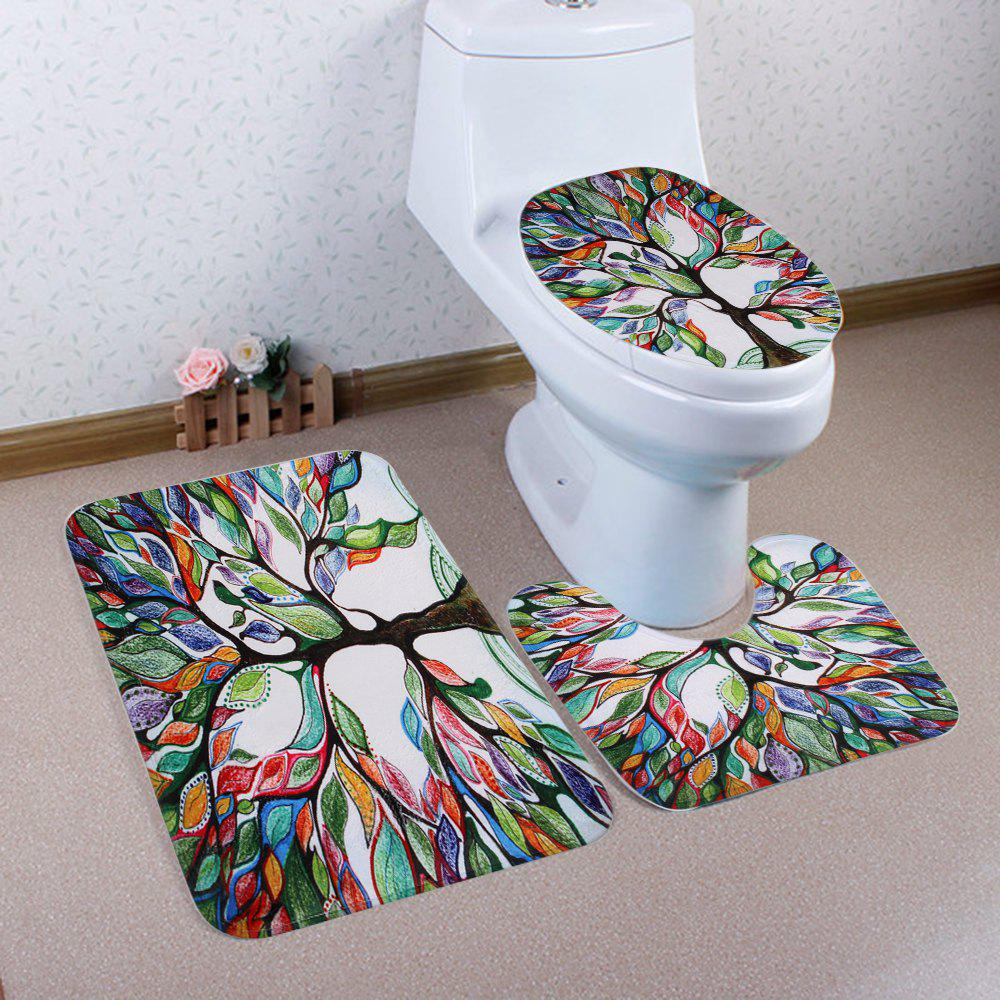 Coral Fleece 3Pcs Tree of Life Bathroom Mat SetHOME<br><br>Color: COLORFUL; Products Type: Bath Mats; Materials: Coral FLeece; Pattern: Plant; Style: Fresh Style; Size: Pedestal Rug: 40*50CM , Lid Toilet Cover: 38*43CM, Bath Mat : 50*80CM; Package Contents: 1 x Pedestal Rug + 1 x Lid Toilet Cover + 1 x Bath Mat;