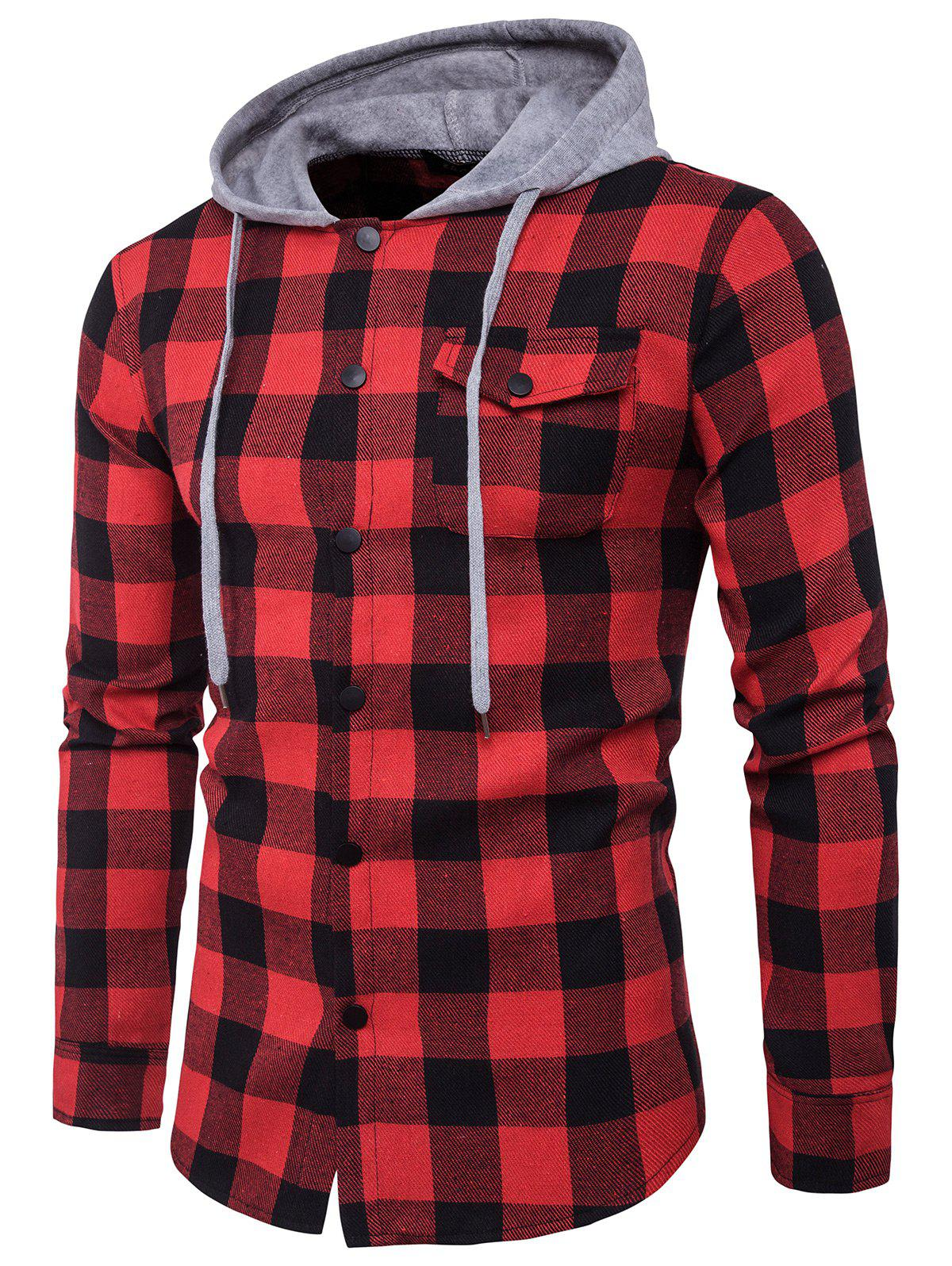 Latest Hooded Panel Long Sleeve Pocket Tartan Shirt
