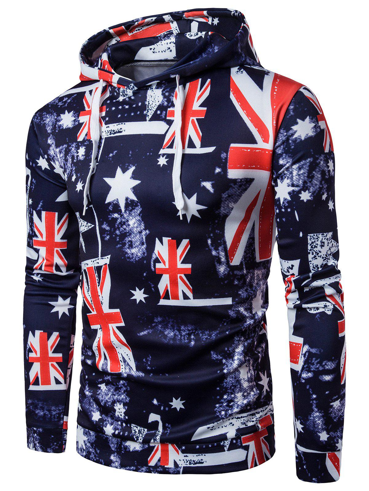 Trendy Patriotic 3D Star and Union Flag Print Hoodie
