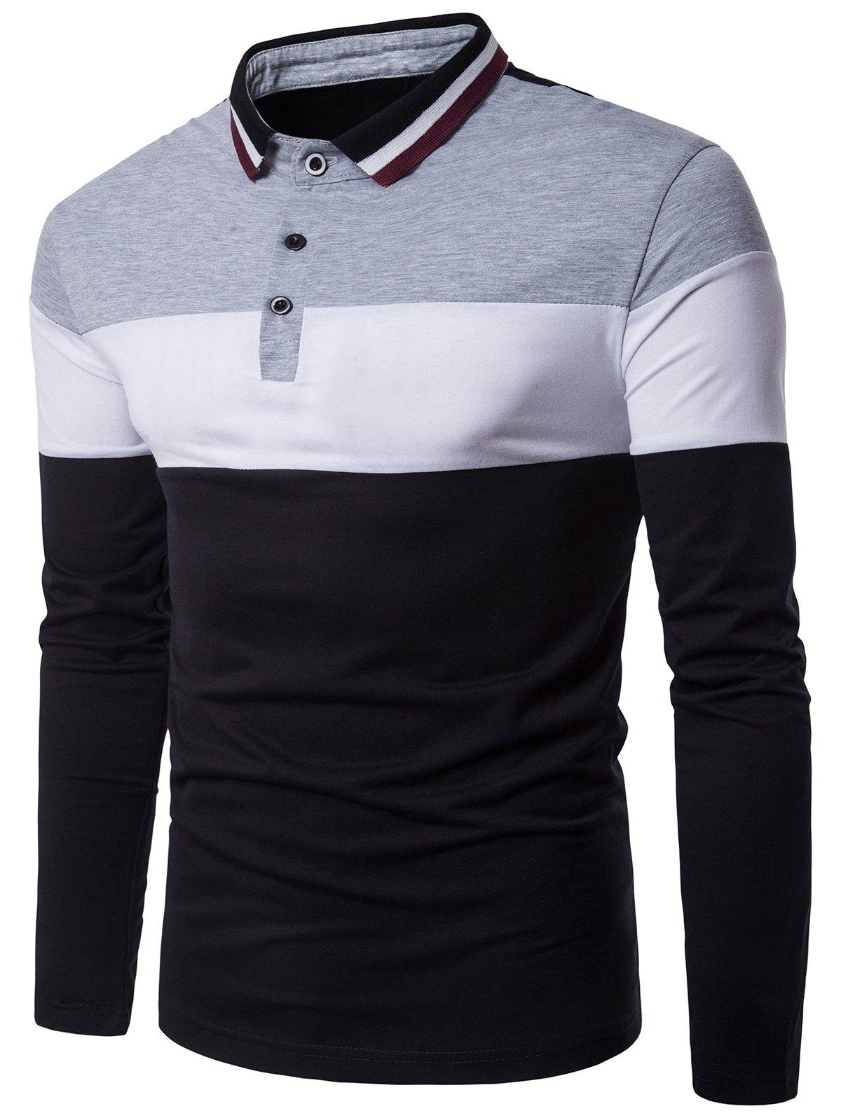 Color Block Panel Design Rib Polo Collar T-shirtMEN<br><br>Size: 2XL; Color: GRAY; Material: Cotton,Polyester; Sleeve Length: Full; Collar: Polo Collar; Style: Casual,Fashion; Embellishment: Spliced; Pattern Type: Solid; Weight: 0.2600kg; Package Contents: 1 x T-shirt;