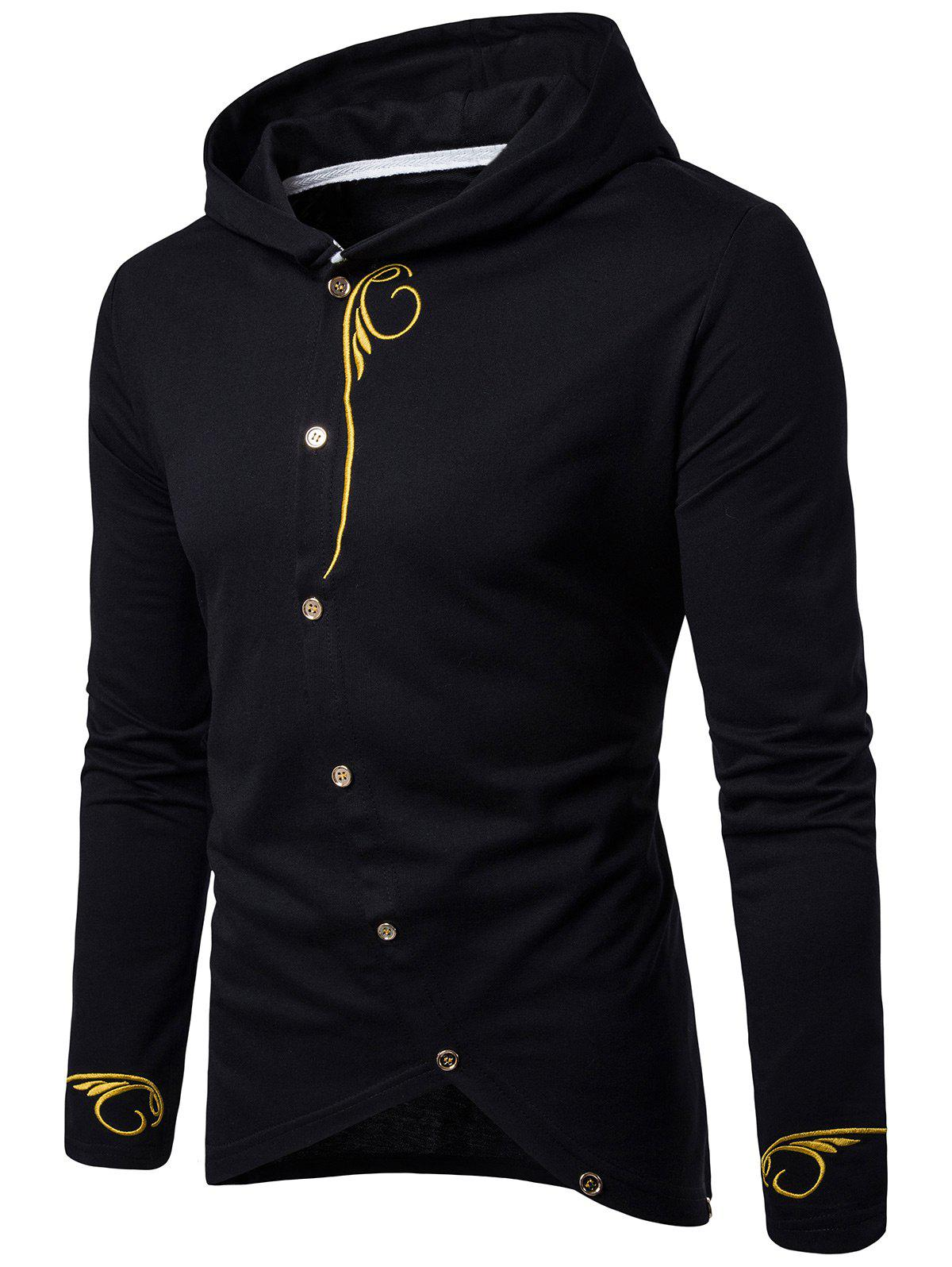 Fashion Long Sleeve Oblique Buttons Design Embroidered T-shirt
