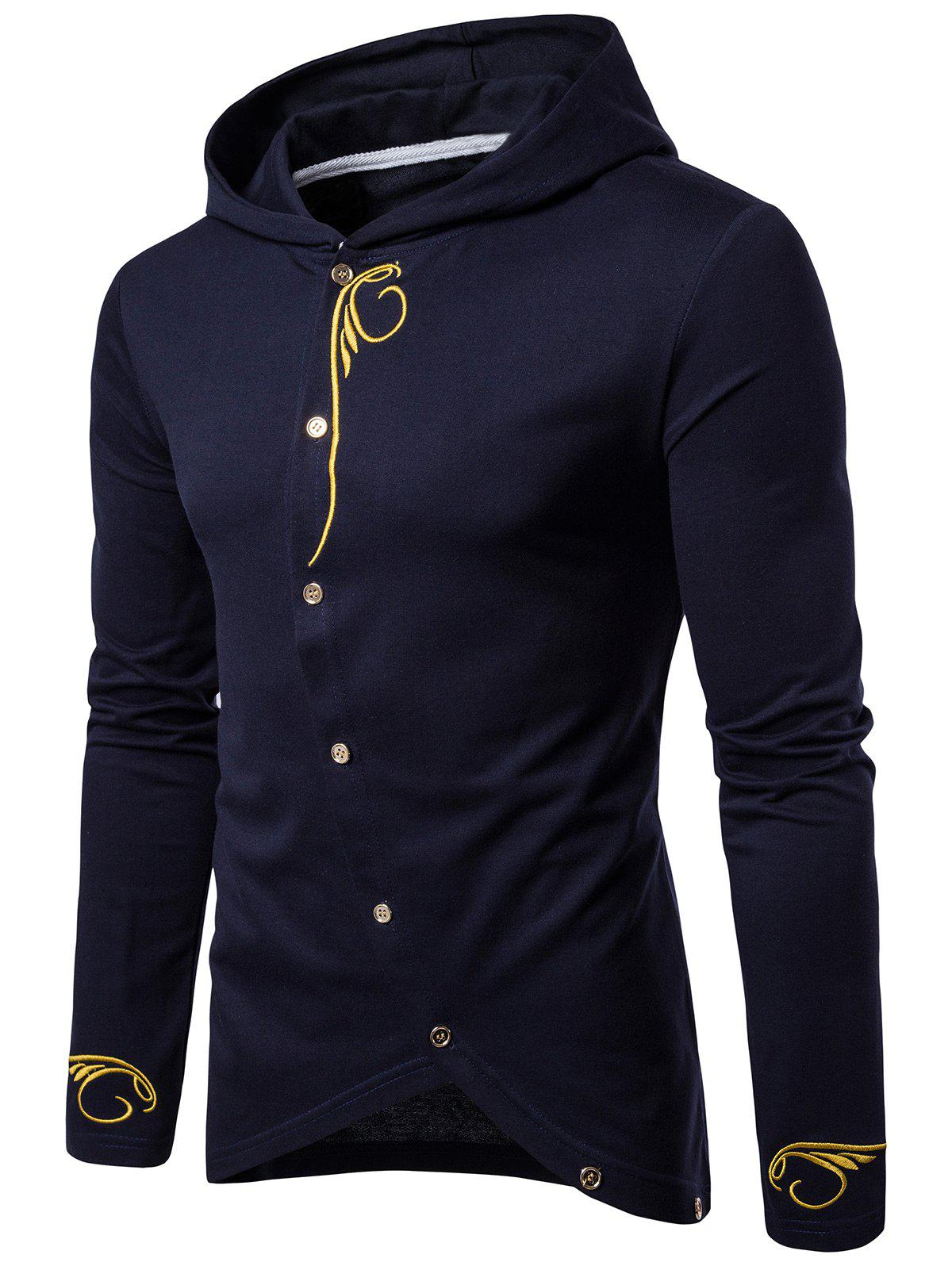 Long Sleeve Oblique Buttons Design Embroidered T-shirtMEN<br><br>Size: L; Color: CADETBLUE; Material: Cotton,Polyester; Sleeve Length: Full; Collar: Hooded; Style: Casual,Fashion; Embellishment: Embroidery; Pattern Type: Solid; Weight: 0.3280kg; Package Contents: 1 x T-shirt;