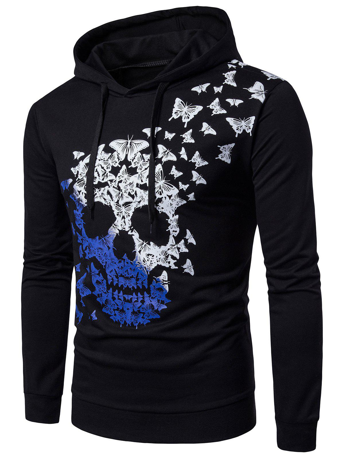 Best Hooded Butterfly and Ombre Skull Print Hoodie