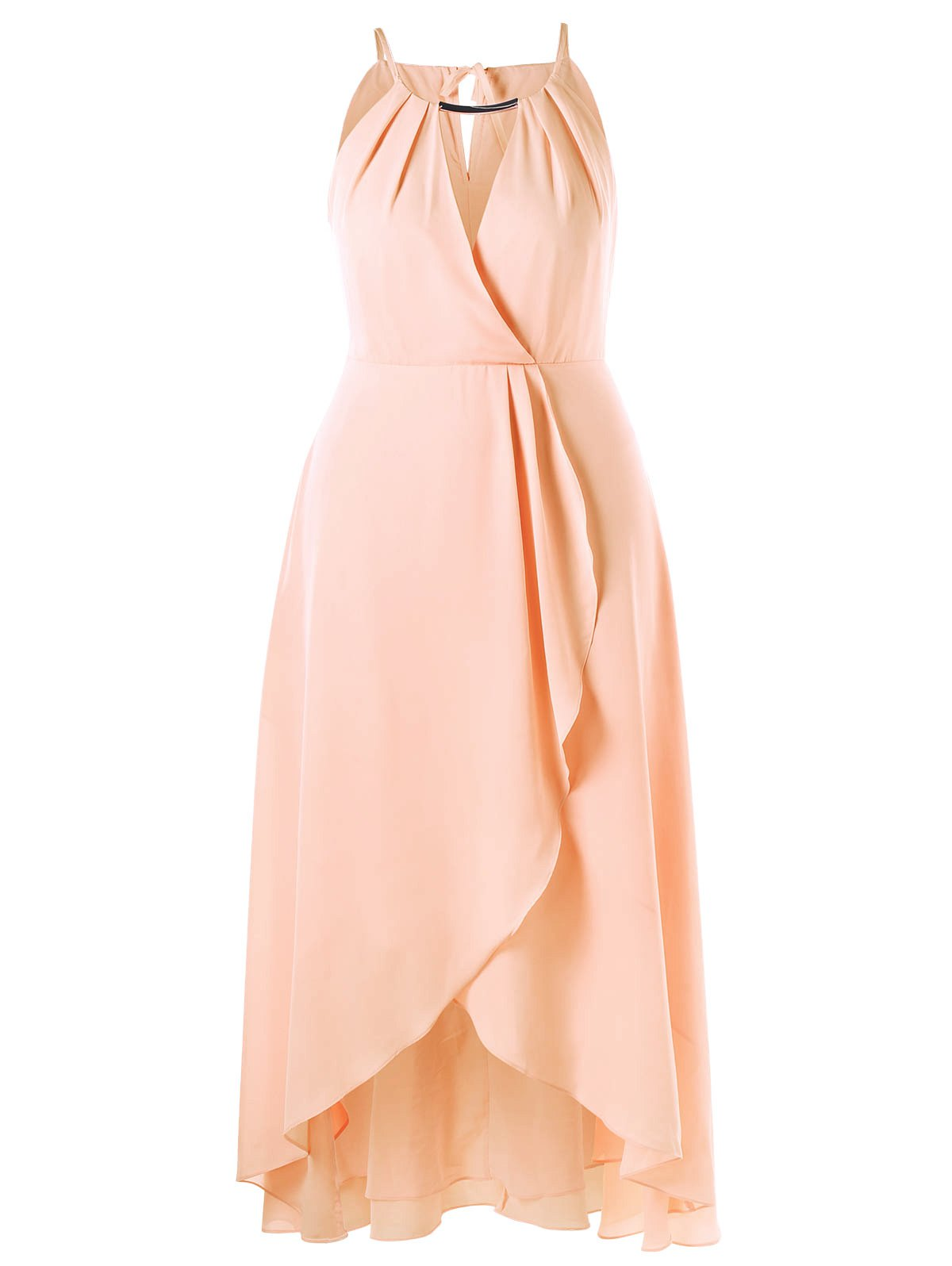 Plus Size Cut Out Overlap Flowy DressWOMEN<br><br>Size: XL; Color: PINKBEIGE; Style: Brief; Material: Polyester; Silhouette: A-Line; Dresses Length: Ankle-Length; Neckline: Spaghetti Strap; Sleeve Length: Sleeveless; Pattern Type: Solid Color; With Belt: No; Season: Summer; Weight: 0.5800kg; Package Contents: 1 x Dress;