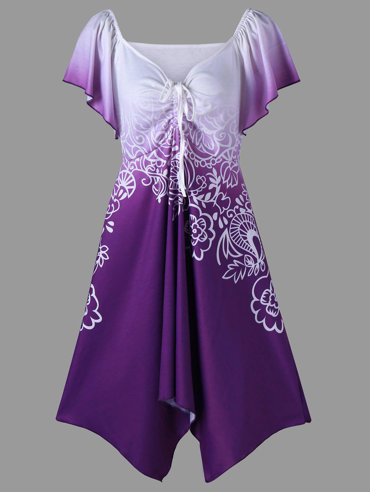Short Sleeve Plus Size Flower Tunic T-ShirtWOMEN<br><br>Size: XL; Color: PURPLE; Material: Polyester,Spandex; Shirt Length: Long; Sleeve Length: Short; Collar: V-Neck; Style: Casual; Season: Summer; Sleeve Type: Batwing Sleeve; Pattern Type: Floral; Elasticity: Elastic; Weight: 0.3500kg; Package Contents: 1 x T-Shirt;