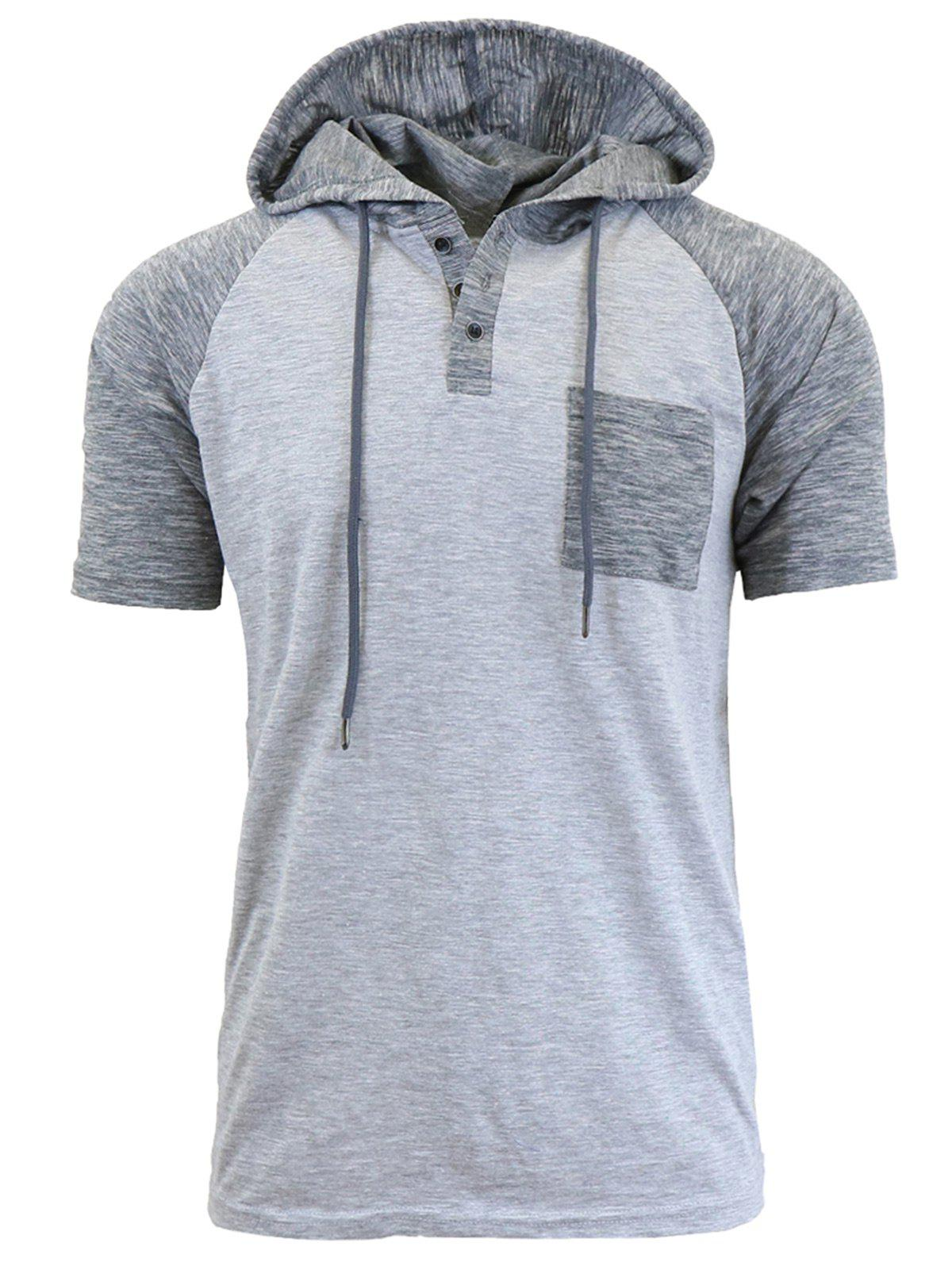 Discount Panel Design Hooded Drawstring Raglan Sleeve T-shirt