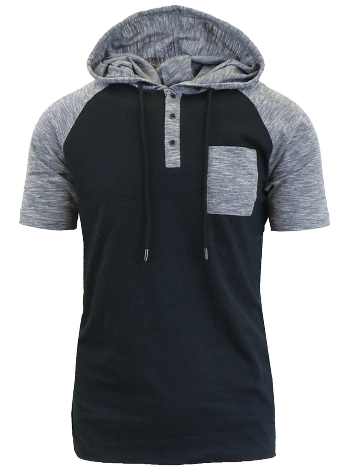 Panel Design Hooded Drawstring Raglan Sleeve T-shirtMEN<br><br>Size: L; Color: BLACK; Style: Casual,Fashion; Material: Polyester; Sleeve Length: Short; Collar: Hooded; Embellishment: Spliced; Pattern Type: Solid; Weight: 0.2490kg; Package Contents: 1 x T-shirt;