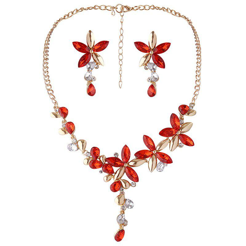 Faux Crystal Flower Earring and Necklace SetJEWELRY<br><br>Color: RED; Item Type: Pendant Necklace; Gender: For Women; Necklace Type: Link Chain; Material: Rhinestone; Style: Noble and Elegant; Shape/Pattern: Floral; Length: 51CM(Necklace)/ 5.3cm(Earring); Weight: 0.0700kg; Package Contents: 1 x Necklace 1 x Earring (Pair);