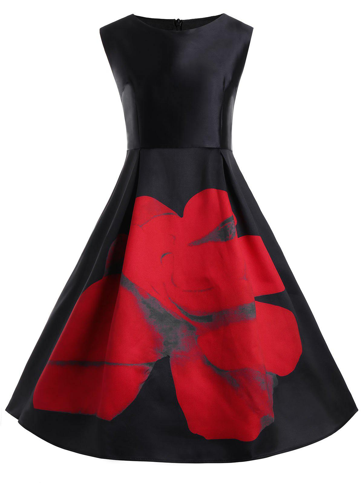 Floral Plus Size Vintage Flare Dress with PocketsWOMEN<br><br>Size: XL; Color: BLACK; Style: Cute; Material: Cotton,Cotton Blend,Polyester; Silhouette: Ball Gown; Dresses Length: Knee-Length; Neckline: Round Collar; Sleeve Length: Sleeveless; Waist: High Waisted; Embellishment: Pockets; Pattern Type: Floral,Print; With Belt: No; Season: Spring,Summer; Weight: 0.4500kg; Package Contents: 1 x Dress;