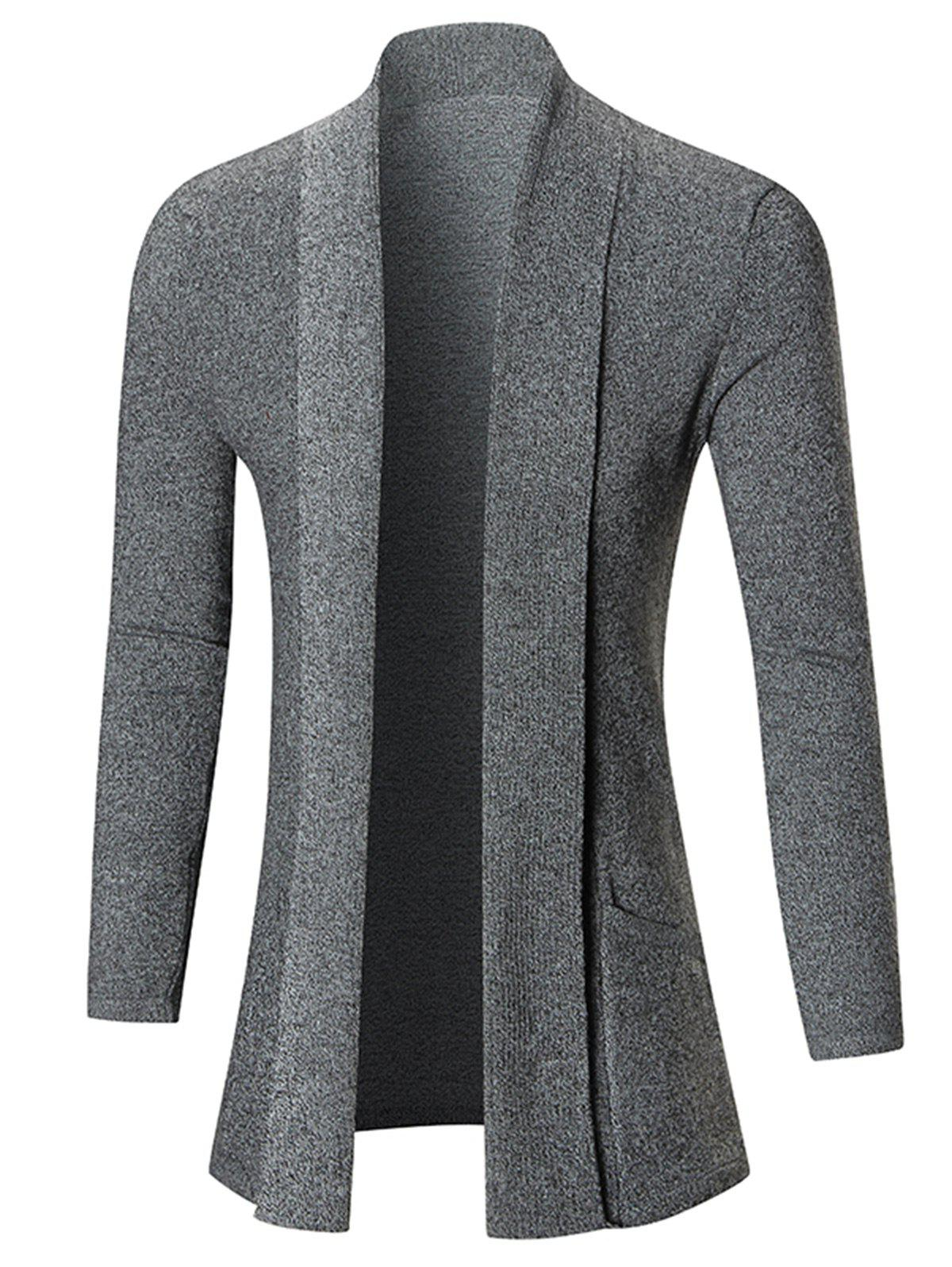 Store Open Front Shawl Collar Heathered Cardigan