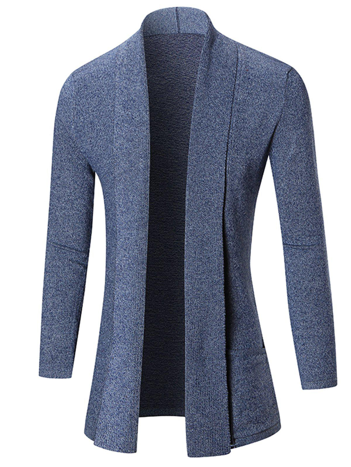 Fashion Open Front Shawl Collar Heathered Cardigan