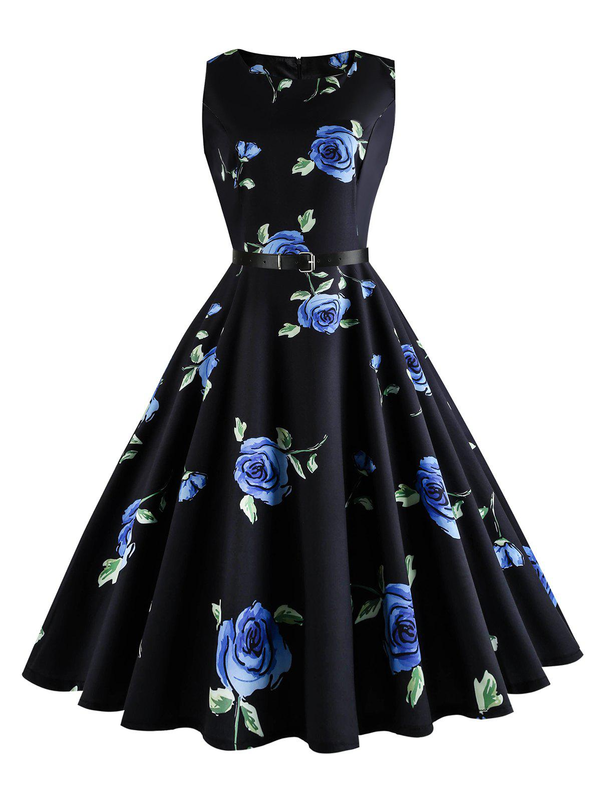 Plus Size Floral Print Retro DressWOMEN<br><br>Size: 5XL; Color: BLUE; Style: Vintage; Material: Cotton Blend,Polyester; Silhouette: Ball Gown; Dresses Length: Mid-Calf; Neckline: Round Collar; Sleeve Length: Sleeveless; Embellishment: Vintage; Pattern Type: Floral,Print; With Belt: No; Season: Spring,Summer; Weight: 0.3000kg; Package Contents: 1 x Dress;