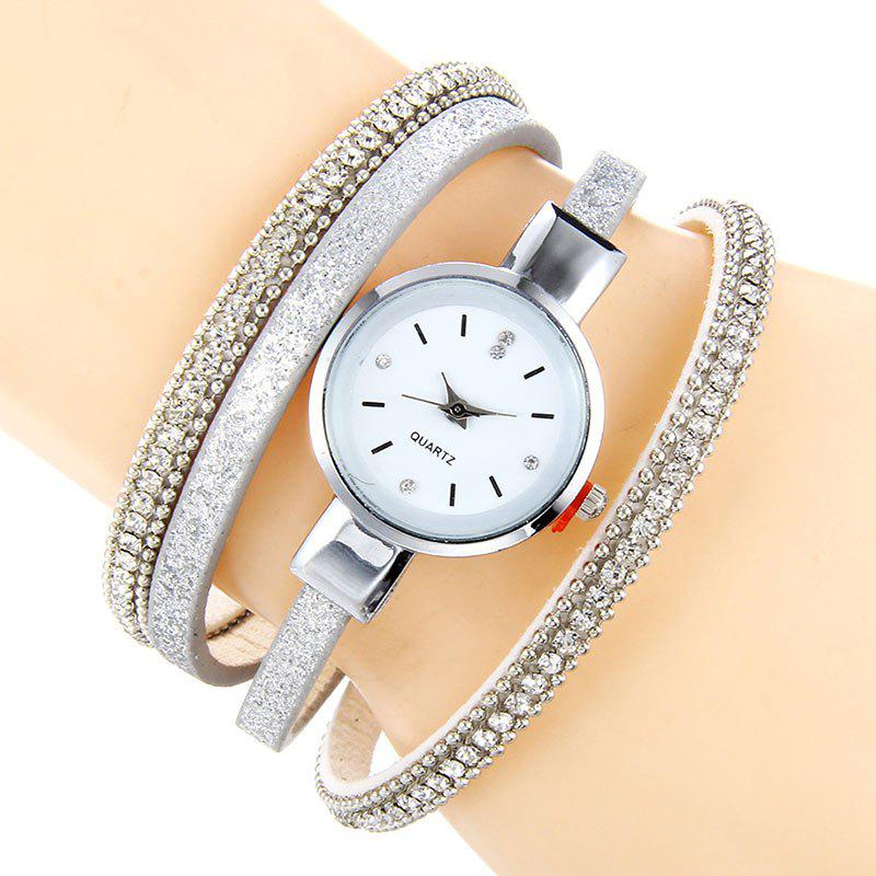 Faux Leather Strap Rhinestoned Bracelet WatchJEWELRY<br><br>Color: WHITE; Gender: For Women; Style: Fashion; Type: Bracelet Watch; Index Dial: Analog; Case material: Alloy; Band material: PU Leather; Movement: Quartz; Dial Shape: Round; Water-Proof: No; Case Thickness(MM): 8mm; Dial Diameter: 3.5cm; Band Length(CM): 22cm; Band Width(CM): 0.5cm; Package Contents: 1 x Watch;