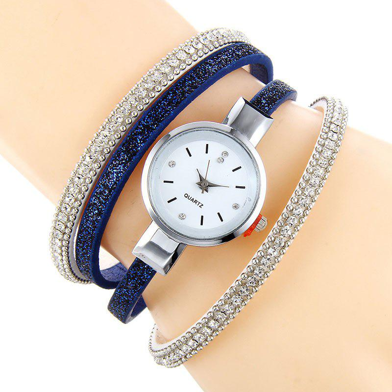 Faux Leather Strap Rhinestoned Bracelet WatchJEWELRY<br><br>Color: BLUE; Gender: For Women; Style: Fashion; Type: Bracelet Watch; Index Dial: Analog; Case material: Alloy; Band material: PU Leather; Movement: Quartz; Dial Shape: Round; Water-Proof: No; Case Thickness(MM): 8mm; Dial Diameter: 3.5cm; Band Length(CM): 22cm; Band Width(CM): 0.5cm; Package Contents: 1 x Watch;