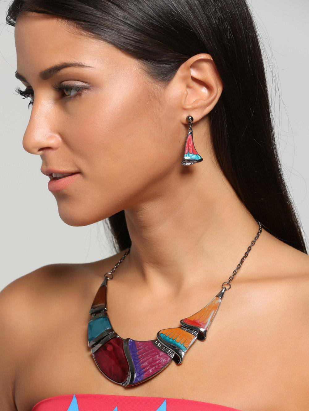 Geometrical Faux Gem Boho Statement Necklace SetJEWELRY<br><br>Color: YELLOW; Gender: For Women; Style: Trendy; Shape/Pattern: Geometric; Weight: 0.0100kg; Package Contents: 1 x Necklace  1 x Earrings(Pair);