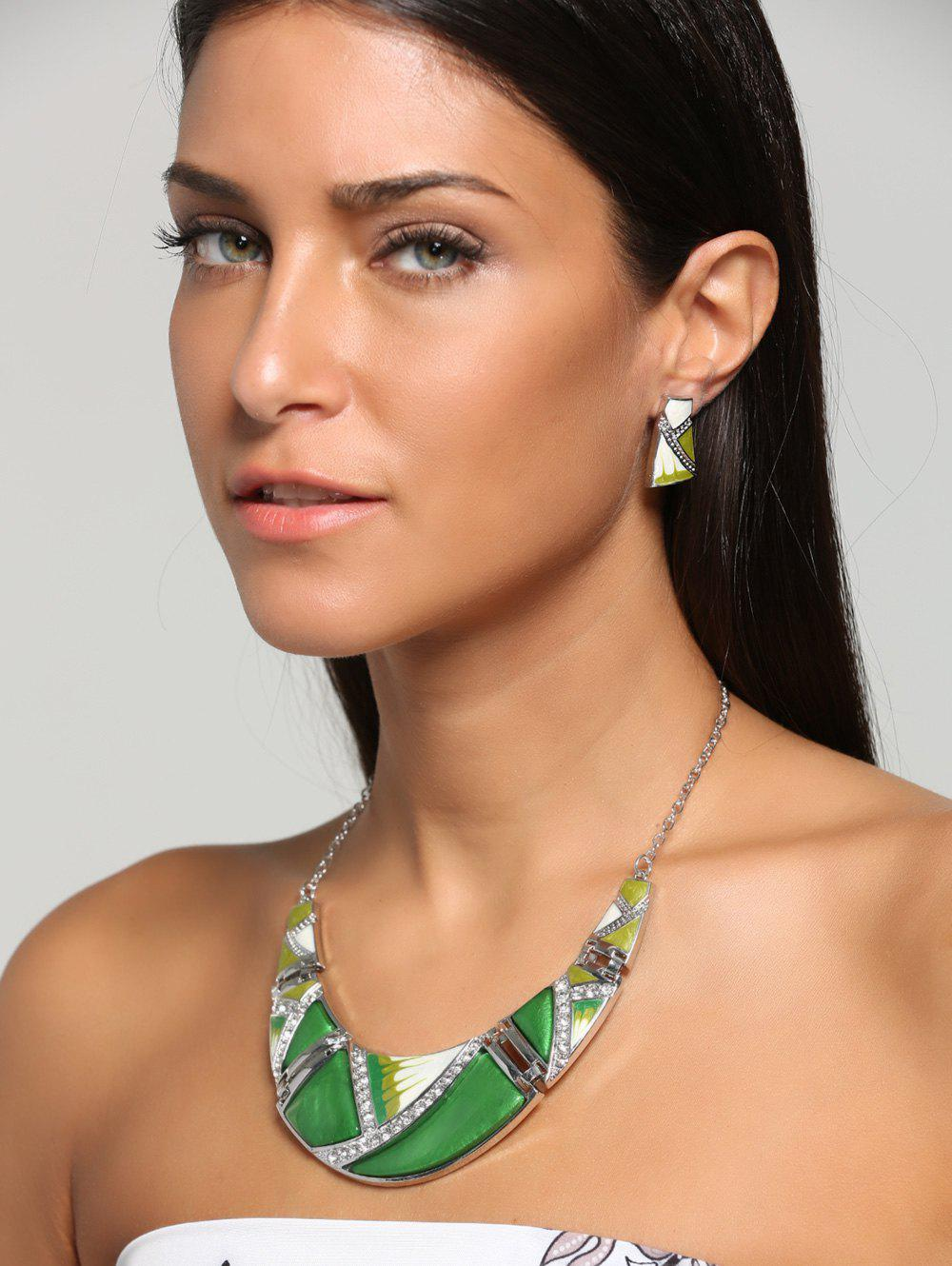 Boho Geometrical Spliced Faux Gem Necklace SetJEWELRY<br><br>Color: GREEN; Gender: For Women; Style: Trendy; Shape/Pattern: Geometric; Weight: 0.0100kg; Package Contents: 1 x Necklace  1 x Earrings(Pair);