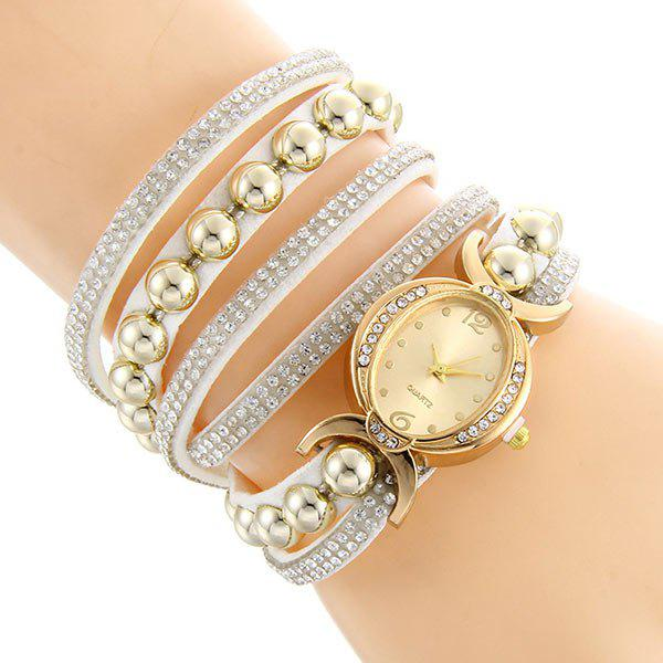Faux Leather Rhinestone Bead Bracelet WatchJEWELRY<br><br>Color: WHITE; Gender: For Women; Style: Fashion; Type: Bracelet Watch; Index Dial: Analog; Case material: Alloy; Band material: PU Leather; Movement: Quartz; Dial Shape: Round; Water-Proof: No; Case Thickness(MM): 7mm; Dial Diameter: 3cm; Band Length(CM): 41cm; Package Contents: 1 x Watch;