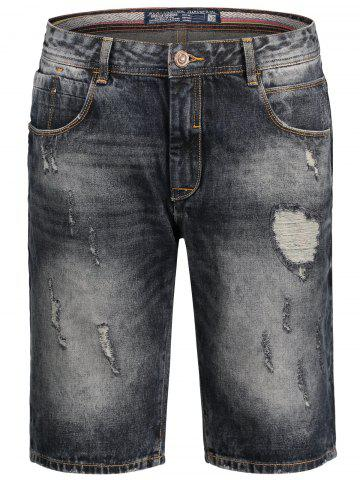 Bermuda Denim Ripped Shorts Noir M
