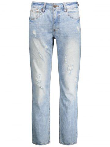 Ripped Zip Fly Straight Jeans - Light Blue - 32