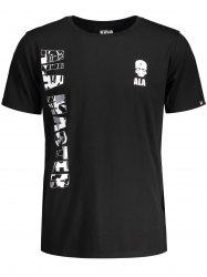 Short Sleeve Letter Skull Graphic Tee - BLACK 2XL