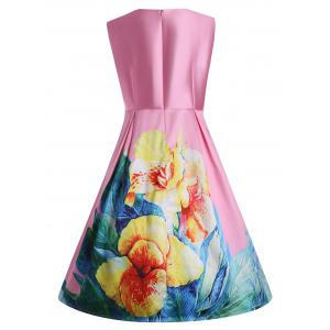 3D Print Floral Plus Size Vintage Dress with Pockets - PINK XL