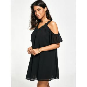 Cold Shoulder Chiffon Swing Shift Dress -