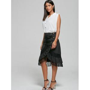 Lace Trim Buckles Buttons Midi Skirt -