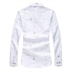 Arrow Print Button Long Sleeve Shirt - WHITE 2XL