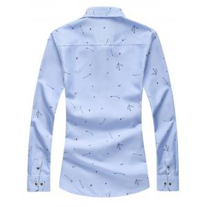 Arrow Print Button Long Sleeve Shirt - LIGHT BLUE 2XL