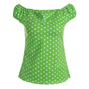 Slim Fit Polka Dot Off The Shoulder Top