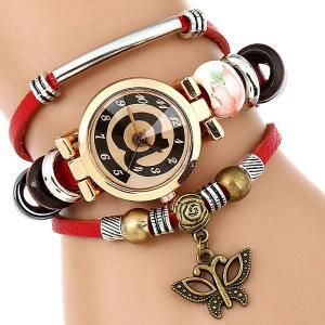 Faux Leather Strap Number Charm Bracelet Watch - Red