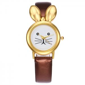 Faux Leather Strap Rabbit Ears Quartz Watch