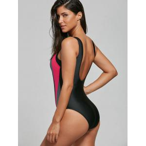 U Neck Color Block Backless Swimsuit - BLACK M