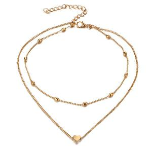 Heart Layered Collarbone Necklace - GOLDEN
