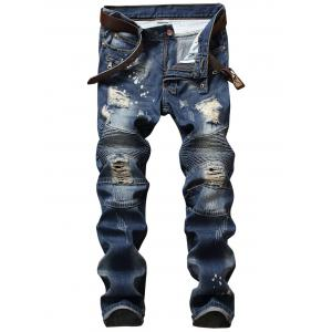 Distressed Zip Design Denim Pants - Denim Blue - 42