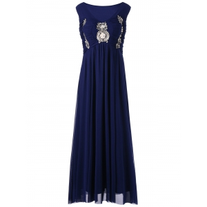 Plus Size Empire Waist Sleeveless Evening Dress - Purplish Blue - 5xl