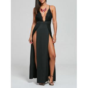 Backless Lace Panel Slip Maxi Romper - Black - Xl