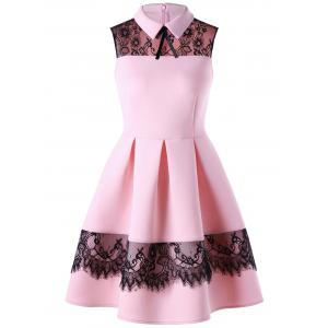 Lace Trim Sleeveless Skater Dress - Pink - 2xl