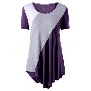 Asymmetrical Color Block Tunic Top - Purple - L