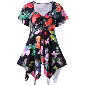 Plus Size Butterfly Pattern Handky Top - Black - 2xl