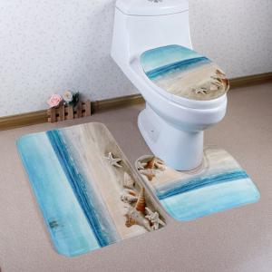 Eco-Friendly Beach Shell 3Pcs Bathroom Mats Set