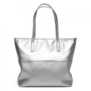 Faux Leather Woven Shopper Bag - Silver - 43
