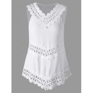 Sleeveless Lace Trim Cutwork Blouse