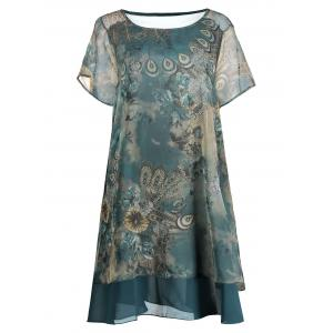Peacock Print Plus Size Layered Chiffon Dress - Blue Green - 2xl