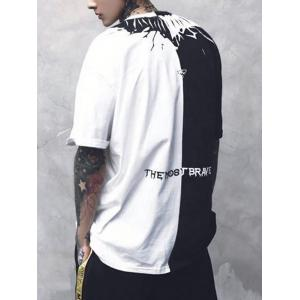 Two Tone Crew Neck Printed Tee - WHITE AND BLACK M