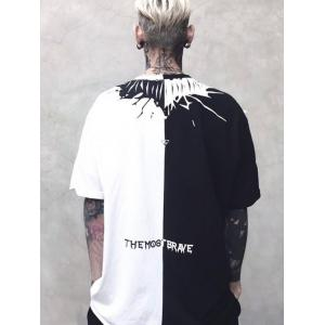 Two Tone Crew Neck Printed Tee - WHITE AND BLACK L