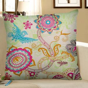 Flower Bird Print Bohemian Linen Throw Pillow Case